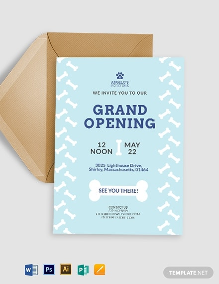 pet store opening invitation template