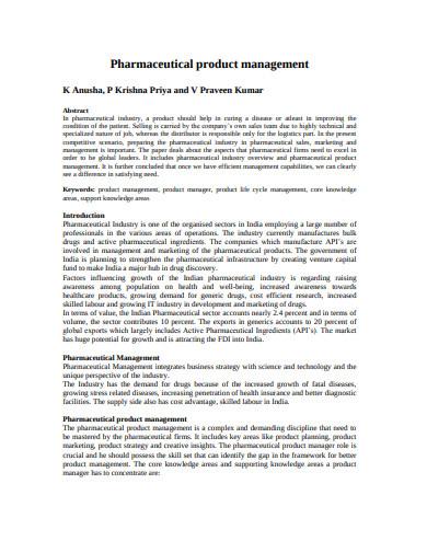 pharmaceutical product management