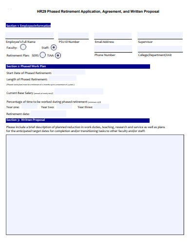 phased retirement agreement application form