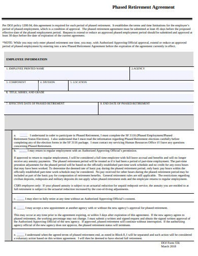 phased retirement agreement template