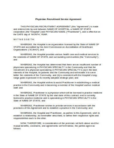 physician recruitment service agreement template