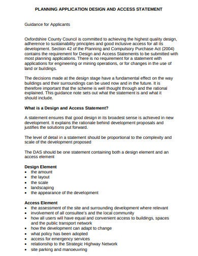 planning application design and access statement