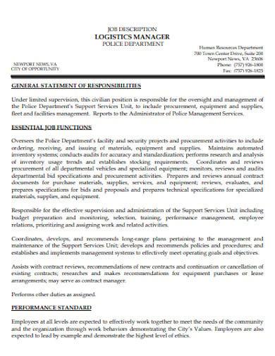 police department logistics manager job description