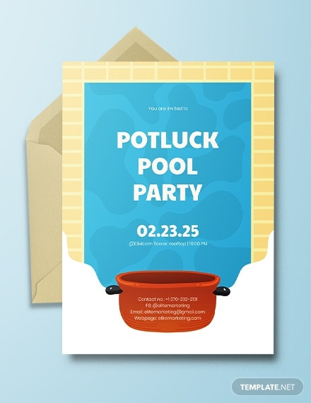 potluck pool party invitation template download