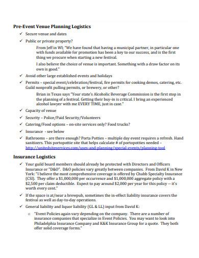 pre event venue planning logistics checklist template