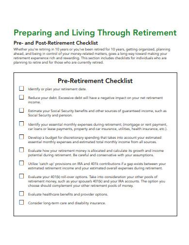 pre retirement planning checklist in pdf