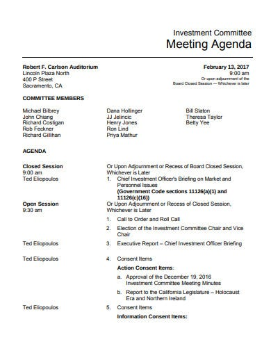printable investment committee meeting agenda
