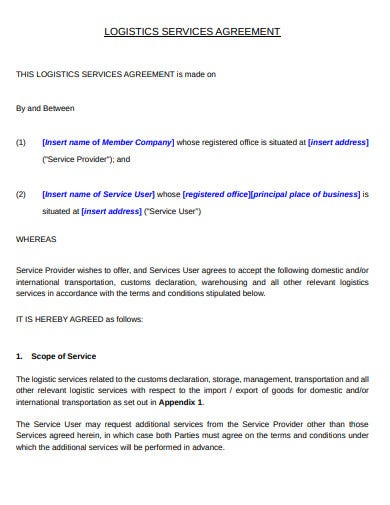 printable logistics services contract