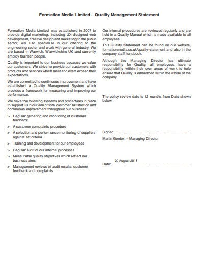 printable quality management statement