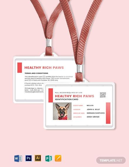 printable service dog animal id card