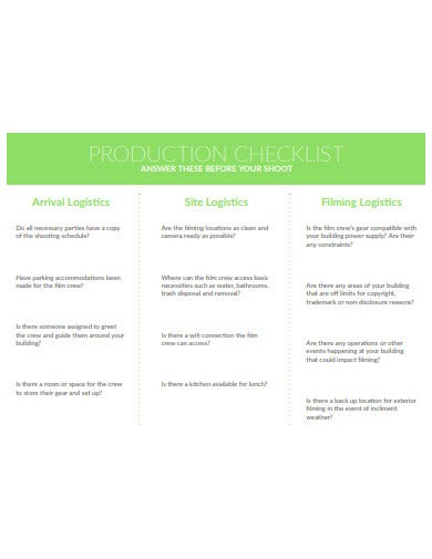 production logistics checklist