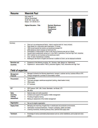production logistics manager cv