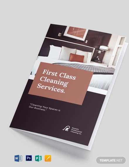 professional cleaning service bi fold brochure template