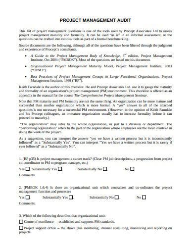 project management audit checklist