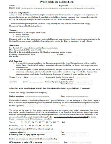 project safety and logistics form