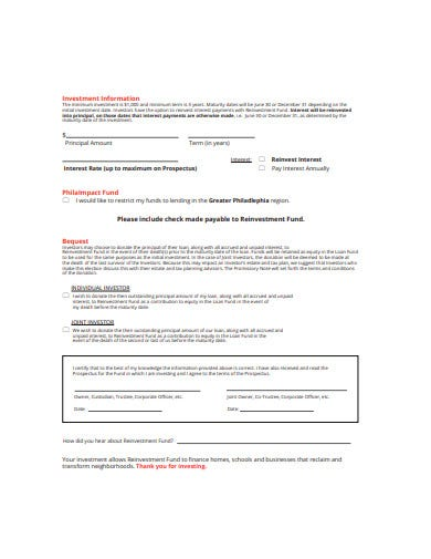 promissory note investment application