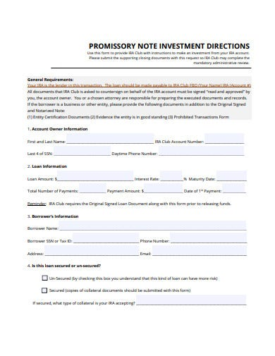 promissory note investment directions