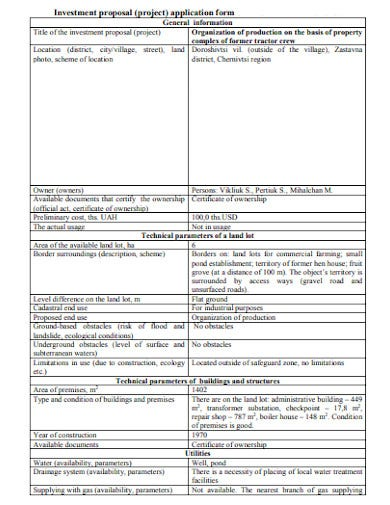 property investment proposal application form