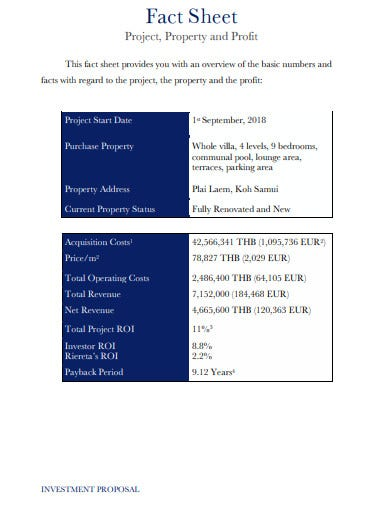 property investment proposal fact sheet
