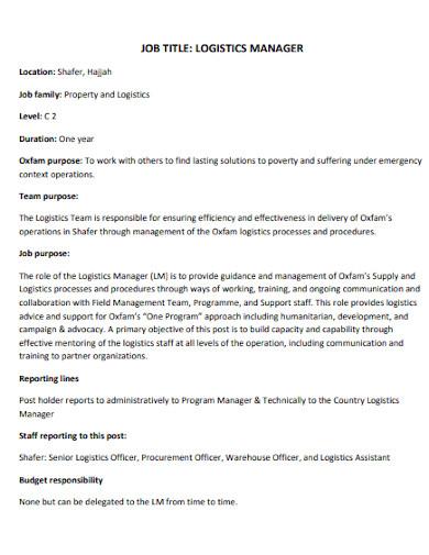 property logistics manager job description