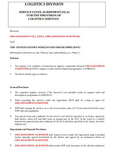 provisional agency service level agreement template