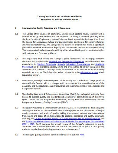quality assurance academic policy statement template