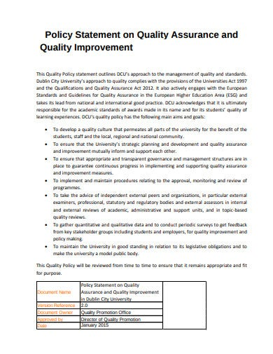 quality assurance improvement policy statement template