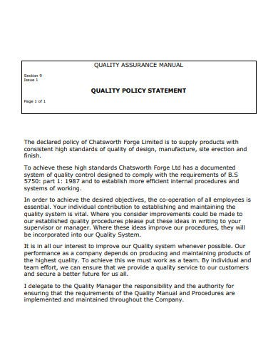 quality assurance manual policy statement template