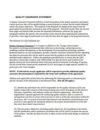 quality assurance statement template