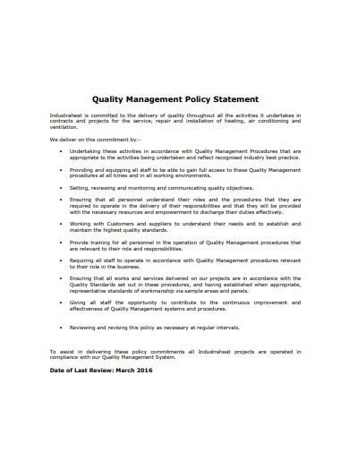 quality management policy statement