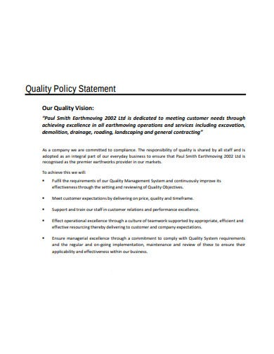quality vision policy statement template
