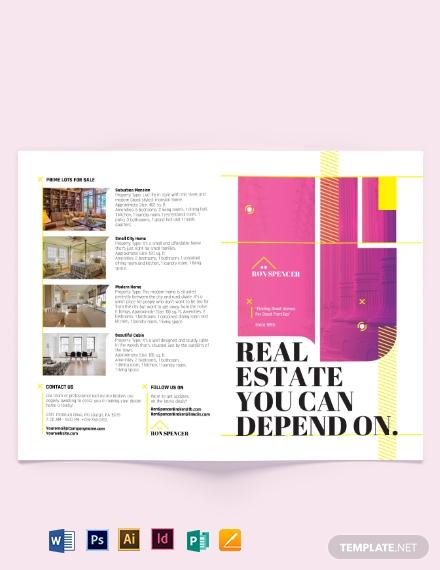 real estate broker marketing bi fold brochure template