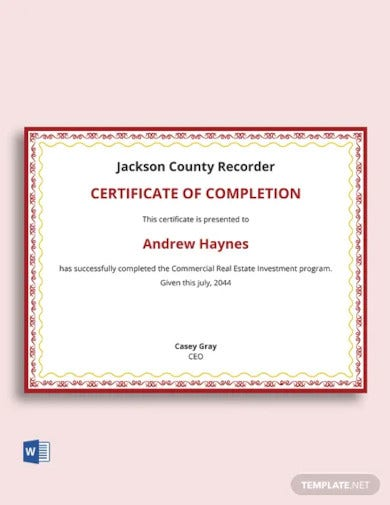 real estate investment certificate template
