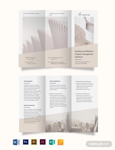real estate management tri fold brochure template