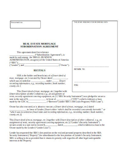 real estate mortgage fee agreement