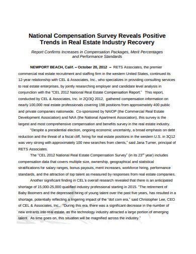 real estate national compensation trends survey