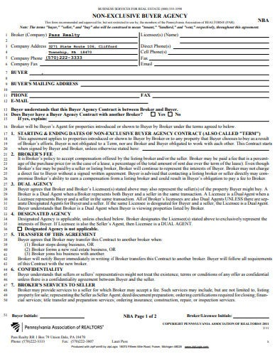 real estate non exlcusive agency agreement in pdf