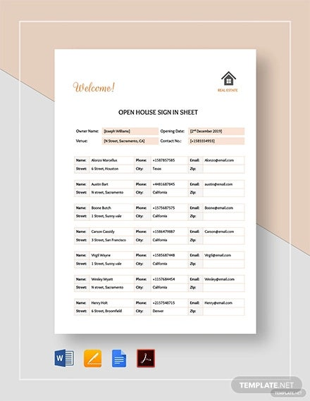 real estate open house sign in sheet template