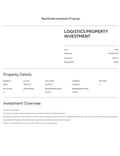 real estate property investment proposal template