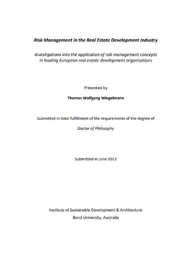 real estate risk management development