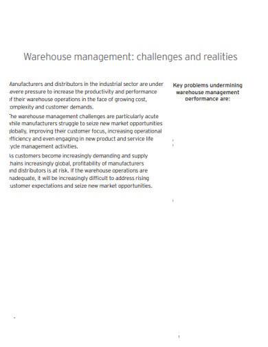 realities warehouse management