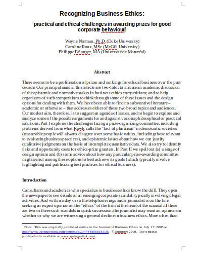recognizing business ethics