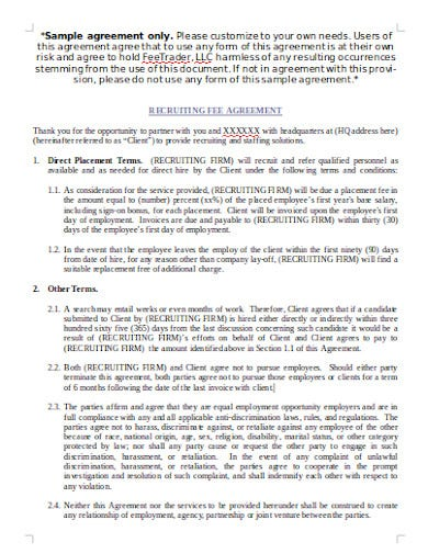 recruitment agency fee agreement