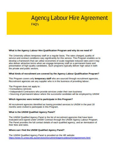 recruitment agency labour hire agreement faqs