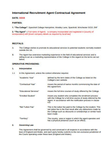 recruitment agent contractual agreement template