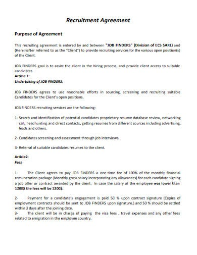 10 Recruitment Agreement Templates In Pdf Ms Word Free