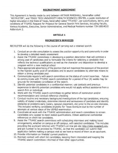 recruitment agreement in pdf