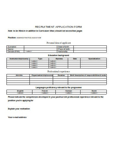 recruitment application form example