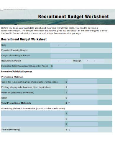recruitment budget worksheet