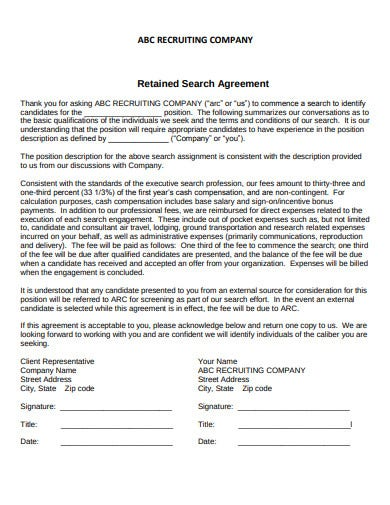 recruitment company retained search agreement